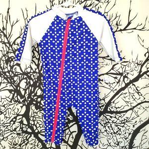 SWIM ZIN Full Body Swimsuit Blue & White Flowers